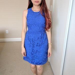 J. Crew Blue Floral Crochet Dress